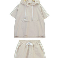 Stripe Spliced Drawstring Hooded Top and Shorts Set