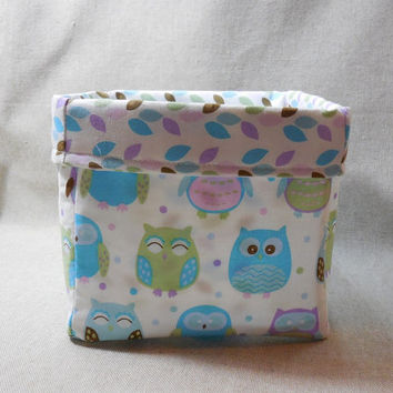 Adorable Pastel Owl Fabric Basket