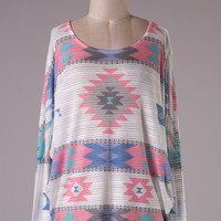 Pink and Cream Aztec Tunic
