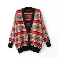 Magic Pieces Woman's Stripes and Hearts Pattern Cardigan 080872