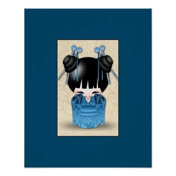 Cute Japanese Kokeshi Doll Dressed In Blue