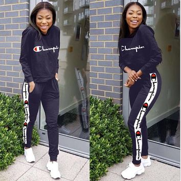 Champion Women Casual Multicolor Letter Pattern Print Long Sleeve Trousers Set Two-Piece dark blue