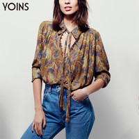 YOINS 2016 New Floral Print Shirt Sexy V-neck Lace-up Collar Women Blouse Blusas Long Sleeves Casual Loose Style Tops Shirts