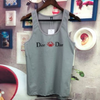 DIOR Summer new casual embroidery spider sports vest top t-shirt Gray