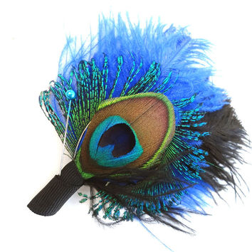 Weddings, Men, Peacock Feather Boutonniere, Lapel Pin, Groom, Groomsmen, Black, Ivory, Blue, pick your colors