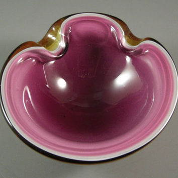 Magnificent Triple Cased Italian Art Glass Bowl // Murano Ashtray from UBlinItsGone
