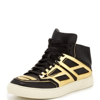 Men's Leather & Metallic Plate High-Top Sneaker, Black/Gold - Alejandro Ingelmo - Black/Gold (10.0D)