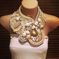 MILKY BAR bridal ivory snd white  statement bib collage collar necklace; , white and ivory rhinestones