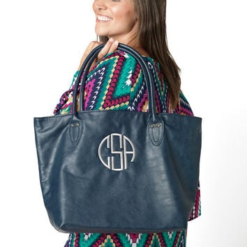 Navy Blue Tote Purse Bag  - Monogrammed Personalized Purse