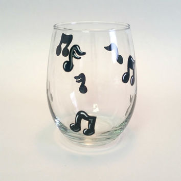 Music Note hand-painted stemless wine glass tumbler