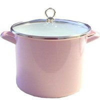 Calypso Basics 8-Quart Stockpot with Glass Lid,Pink