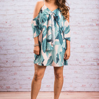 Palm Before The Storm Dress, Forest Green