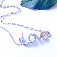 Silver Love Necklace simplicity jewelry wedding jewelry gifts