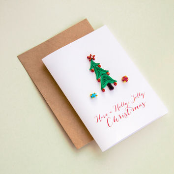 Holly Jolly Christmas Card - Quilling Christmas Card - Holiday Card