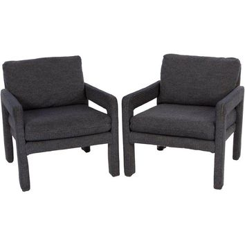 Pre-owned Milo Baughman Inspired Boucle Chairs - A Pair