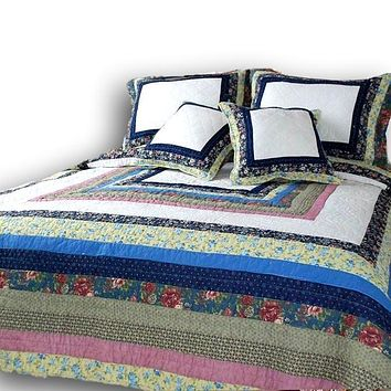 DaDa Bedding Cotton Patchwork Spring Patio Floral Garden Quilted Bedspread Set - Twin/Single (DXJ100286)