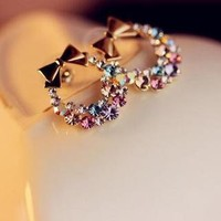 Circular Rhinestone Bow Earrings from 1Point99.com