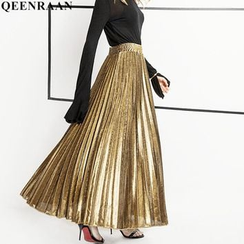 Elegant Women Long Skirt Vintage High Waist Metallic Color Pleated Skirt 2018 Harajuku High Waist Maxi Skirts Women Jupe Saia