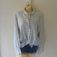 Tie Front Blouse Oversize Blouse Oversize Shirt Green Blouse 90s Shirt 90s Blouse Womens Button Up Shirt 90s Clothing Spring Clothes Striped