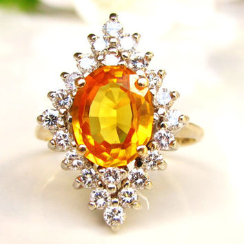 Vintage Orange Sapphire & Diamond Halo Engagement Ring 0.66ctw Diamond Wedding Ring 14K Gold Alternative Sapphire Engagement Ring Size 6