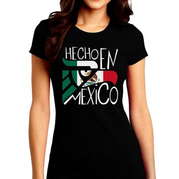 Hecho en Mexico Design - Mexican Flag Juniors Crew Dark T-Shirt by TooLoud