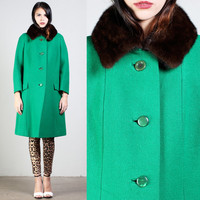 vintage EMERALD green MINK FUR trim collar wool pea coat jacket trench mod winter madmen 1960s 1950s 60s 50s M medium