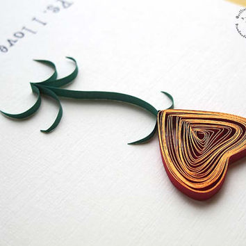 Paper quilling - valentine - love - red heart card - floral - quirky card