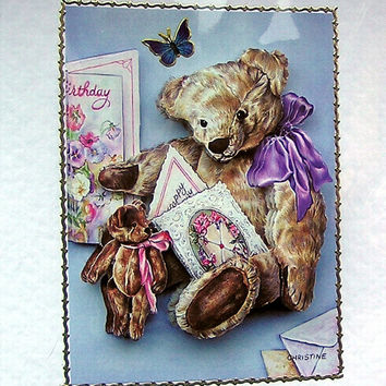 Teddy Bear Hand Crafted 3D Decoupage Card, With Love (1689)