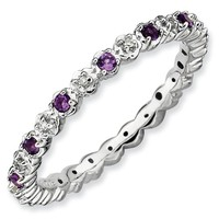 Sterling Silver Stackable Expressions Amethyst & Diamond Ring
