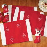 Santa Christmas Placemat & Silverware Holder Set By Collections Etc