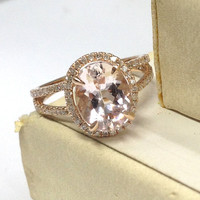 Morganite Engagement Ring 14K Rose Gold!Diamond Wedding Bridal Ring,6x8mm Oval Cut Pink Morganite,Split Shank,Can make matching band,Promise
