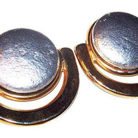 "Silver Gold Shoe Clips Round Circle Clips Modern Fashion Accessory 1 1/2"" Vintage"