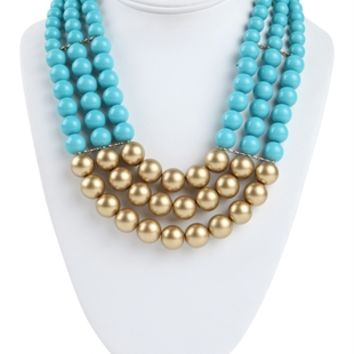 3 Row Pearl Statement Necklace with Metallic Bottom