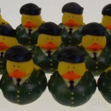 Lot 12 US Military Rubber Army Duck Duckie Party Favors Cake Toppers Decor Dozen