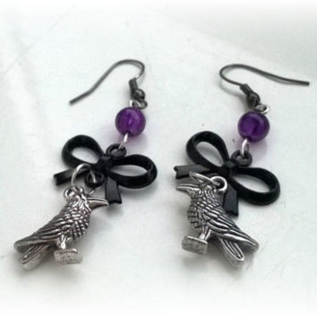 Gothic Raven Crow Earrings