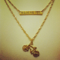 "high/low ""RIDE OR DIE"" bicycle double chain necklace"