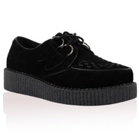 Womens Black Platform Lace Up Ladies Flat Creepers Goth Punk Shoes Size 9 US