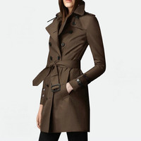Brown Stand collar, double breasted trench coat for women, Medium long, Waist belt autumn women coats