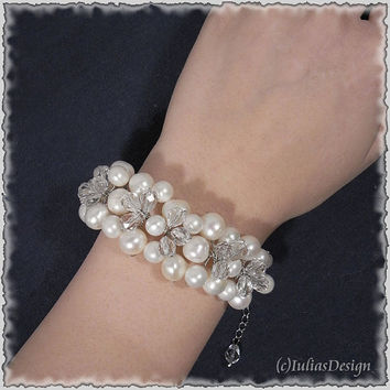 Hand-wired freshwater pearl and crystal bracelet. Cuff bracelet perfect as gift, bridal or bridesmaid jewelry.