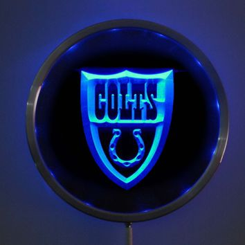 rs-0103 Indianapolis Colts LED Neon Round Signs 25cm/ 10 Inch - Bar Sign with RGB Multi-Color Remote Wireless Control Function