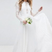 ASOS EDITION Long Sleeve Lace Bodice Maxi Wedding Dress with Pleated Skirt at asos.com