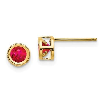 14k Yellow Gold 4mm Round Ruby Bezel Set Earrings