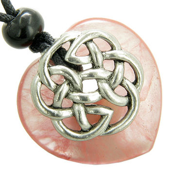 Amulet Celtic Shield Knot Puffy Heart Simulated Cherry Quartz Crystal Pendant Necklace