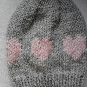 Mug hat cosy - grey with pale pink hearts - bright pink button fastening - Valentine's Day/birthday/anniversary/new home