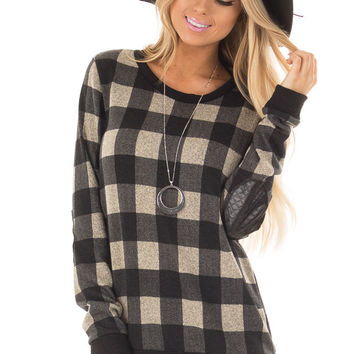 Black Plaid Sweater with Faux Leather Elbow Patches