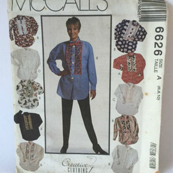 McCalls 6626 Sewing Pattern Blouse Top Loose Fit Shirt Bow Tie Womens 6 8 10 New Uncut Vintage