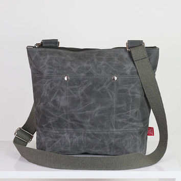 Gray waxed daily use messenger tote bag handmade pocket on front full lining waterproof carry all bag gift idea different color available