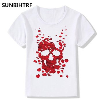 Petal Skull Design T-Shirts Girls Funny Summer Tops Tees Kids Cool Casual Clothes