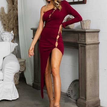 One Shoulder Split Thigh Buttoned Dress