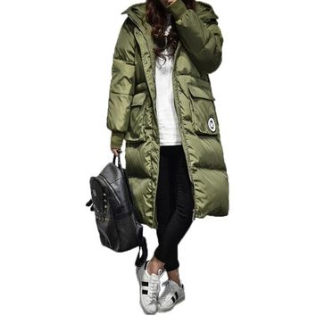 Winter Duck Down Parkas Women Loose Fit Hooded Overcoats Embroidery Warm Military Overcoats Down Jacket Women